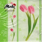 Luncheon Napkin Pink Tulip On Green