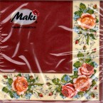 Luncheon Napkin Corner Rose Red