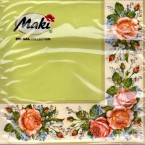 Luncheon Napkin Corner Rose Green